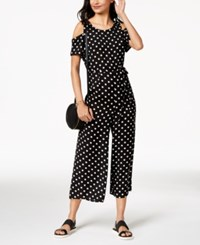 Emerald Sundae Juniors' Polka Dot Cold Shoulder Jumpsuit Black White