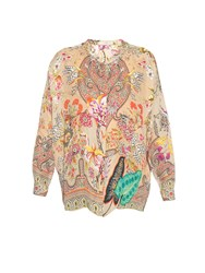 Etro Stand Collar Paisley Botanical Print Blouse