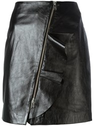 Iro Straight Leather Skirt Black