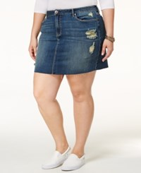 American Rag Trendy Plus Size Ripped Denim Mini Skirt Only At Macy's Crescent