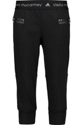 Adidas By Stella Mccartney Cropped Cotton Blend Track Pants Black