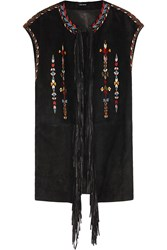 Isabel Marant Martin Fringed Embroidered Suede Vest Black