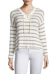Sundry Stripe Print Lace Up Sweater Natural