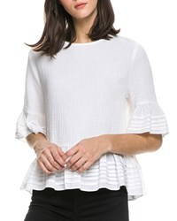 English Factory Half Sleeve Top With Pintuck Detail White