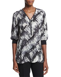 Lafayette 148 New York Tiara Half Sleeve Zip Front Printed Blouse Black Multi