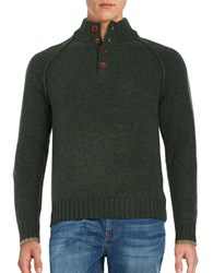 Brooks Brothers Raglan Stitched Henley Sweater Green