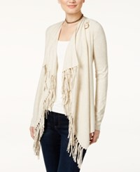 Inc International Concepts Open Front Fringed Cardigan Only At Macy's Heather Sandune