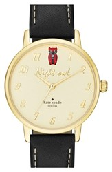 Women's Kate Spade New York 'Metro Night Owl' Leather Strap Watch 34Mm