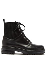 Gianvito Rossi Ribbed Panel Lace Up Leather Boots Black