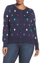 Foxcroft Plus Size Women's Diamond Dot Cardigan