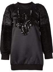 Manish Arora Faux Fur Sleeve Sweatshirt Black