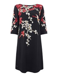 Biba Embroidered And Embellished Tie Back Shift Dress Black
