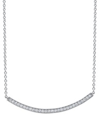 Crislu Platinum And Cubic Zirconia Cascade Single Drop Necklace Silver