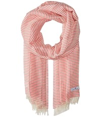 Love Quotes Linen Cotton Narrow Stripe Gypsy White Scarves Pink