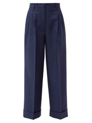 Fendi Turn Up Cuff Mohair Blend Trousers Blue