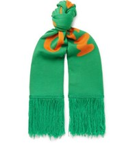 Off White Fringed Logo Intarsia Wool Scarf Green