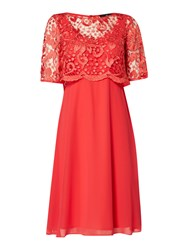 Ariella Lace Overlay Dress Coral