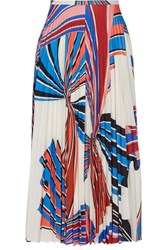 Emilio Pucci Vortex Pleated Printed Stretch Jersey Skirt White