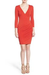 Women's Velvet By Graham And Spencer Wrap Front Body Con Dress Crimson Red