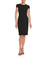 Betsey Johnson Faux Leather Trimmed Sheath Dress Black