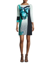 Prabal Gurung 3 4 Sleeve Floral Print Shift Dress Turquoise