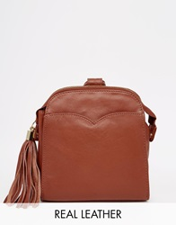 Asos Leather Mini Vintage Backpack Tan