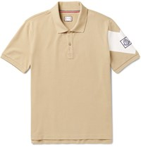 Moncler Gamme Bleu Slim Fit Printed Cotton Pique Polo Shirt Beige
