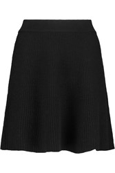American Vintage Winters Ribbed Knit Merino Wool Mini Skirt Black