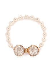 Miriam Haskell Caged Baroque Glass Pearl Bracelet White