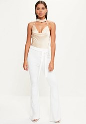 Missguided White Tie Waist Kick Flare Trousers