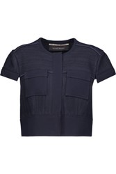 Roland Mouret Clay Cropped Crepe Paneled Pique Jacket Midnight Blue