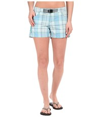 Columbia Cross On Over Ii Plaid Short Miami Plaid Women's Shorts Blue