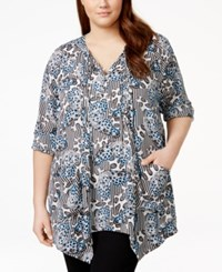 Melissa Mccarthy Seven7 Plus Size Butterfly Print Tunic Top Surf The Web B Fly