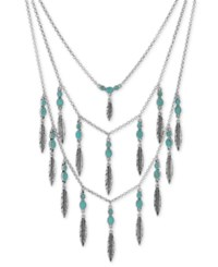 Lucky Brand Silver Tone Blue Bead And Metallic Feather Layer Necklace