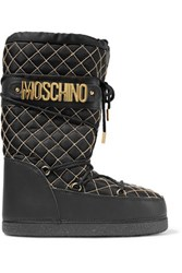 Moschino Leather Trimmed Embellished Quilted Shell Boots Black