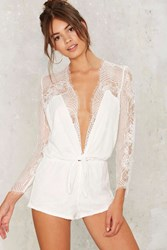 Come Hither Lace Romper White
