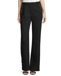 3.1 Phillip Lim Sailor Button Flared Wool Pants Black