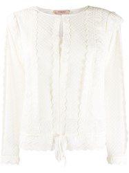 Twin Set Frill Trimmed Sheer Blouse 60