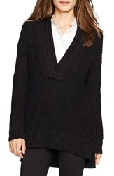Petite Women's Lauren Ralph Lauren Cable V Neck Sweater Black