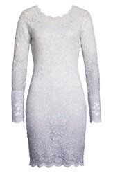 Sequin Hearts Ombre Glitter And Lace Sheath Dress Light Blue Silver
