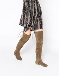 Daisy Street Mushroom Over The Knee Tie Back Flat Boots Brown