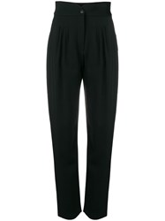 Alberta Ferretti Egg Shaped High Waisted Trousers Black