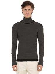 Rochas Striped Virgin Wool Turtleneck Black