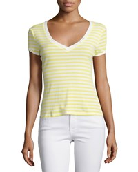 Frame Denim Le Button V Neck Striped Tee Canary Women's Size M Canary Yellow Str