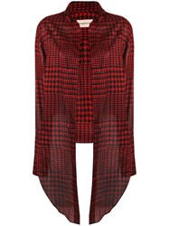 Alexandre Vauthier Cropped Houndstooth Shirt Red