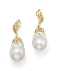 Bloomingdale's Cultured Freshwater Pearl And Diamond Drop Earrings In 18K Yellow Gold