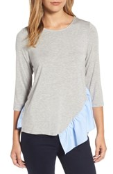 Pleione Women's Wraparound Ruffle Hem Sweater Grey With Blue White Stripe