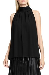 Vince Camuto Women's Shirred Neck Halter Blouse Rich Black