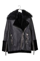 Shearling Collar Biker Jacket By Boutique Black