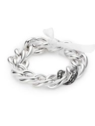 Pomellato 67 Marcasite And Sterling Silver Woven Chain Link Bracelet